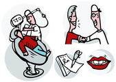 Dentist working on patient vector icons set — Stock Photo