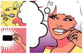 Comics style girl and Hand with a card (raster version) — Stock Photo