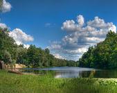 Lake, sky, clouds — Stock Photo