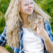 Happy long haired blonde — Stock Photo