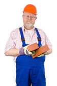 Bricklayer with hardhat — Stock Photo