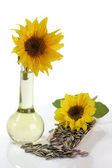 Sunflower Seeds and Oil Bottle — Stock Photo