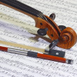 Violin head and bow — Stock Photo