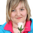 Woman wth white rose — Stock Photo