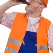 Construction worker taking a break — Stock Photo