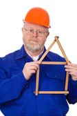Craftsman with folding rule — Stock Photo