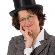 Woman with stovepipe hat — Stock Photo