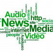 News and media – word cloud - Stock Photo