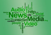 News and media – word cloud — Stock Photo