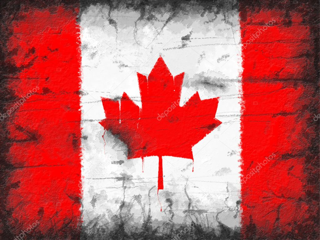 Flag of Canada painted on old wall – grunge style illustration — Stock Photo #3611538