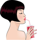 Sexy girl drinking cocktail — Stock Vector