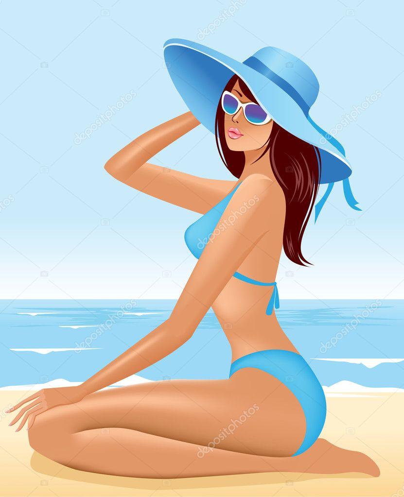 Рисунок девушки на пляже 20 фотография