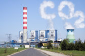 Cooling towers with CO2 clouds — Stock Photo