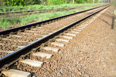 Railroad tracks and green grass — Stock Photo