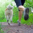 Woman running in forest, motion blur - Stock Photo