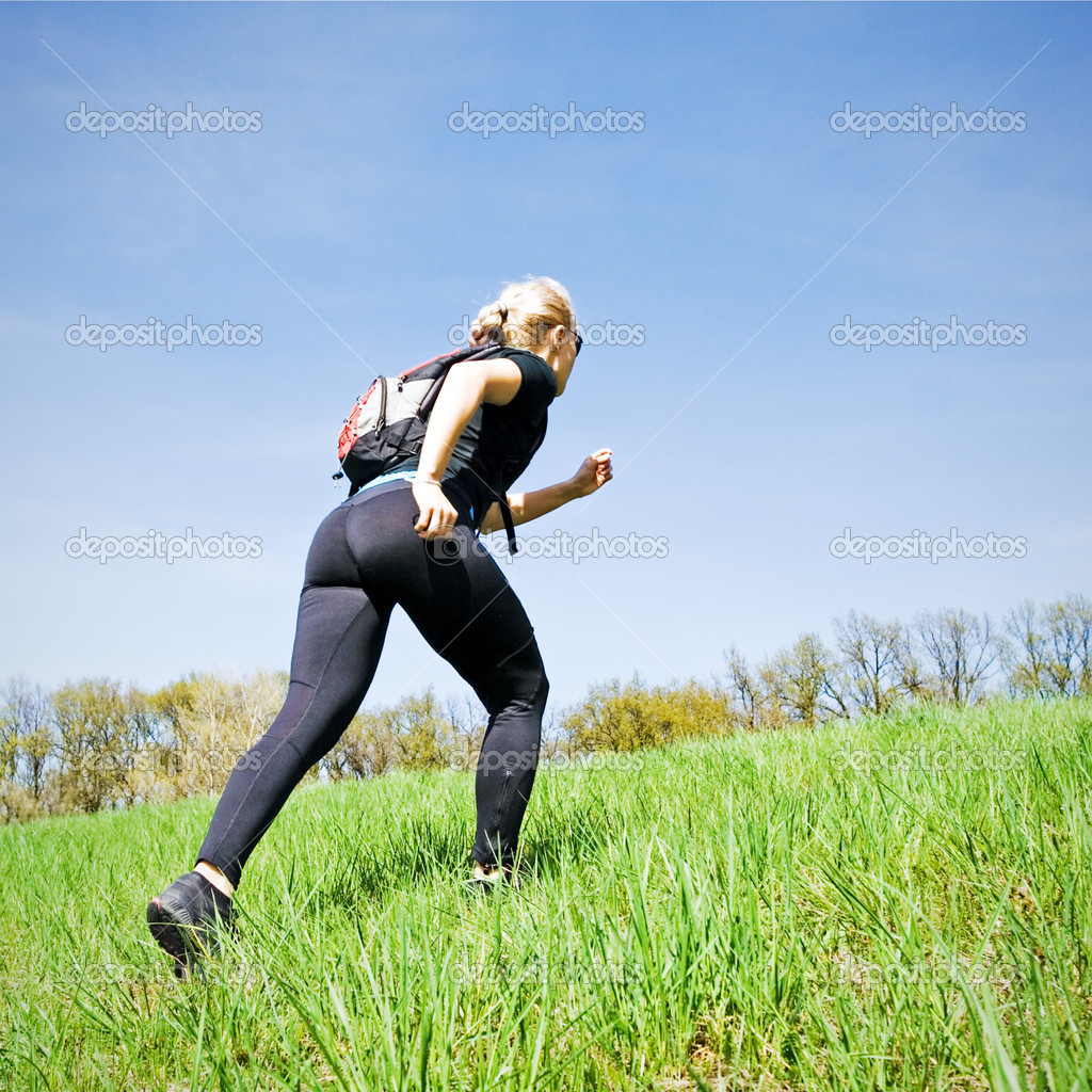 Woman on power walking workout outdoors — Stock Photo #3119824
