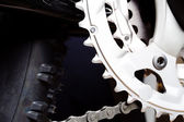Gear and tire of mountain bike — Stock Photo