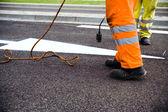 Aanleg van wegen en schilderkunst — Stockfoto
