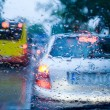 Stock Photo: Traffic jam during stormy day