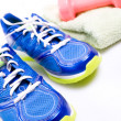 Exercise, sport shoes ready to workout - Stock Photo