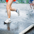 Running in marathon in hot summer - 图库照片