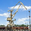 Crane at loading dock - Foto Stock