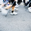 Royalty-Free Stock Photo: Nordic walking race, motion blur