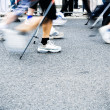Stock Photo: Nordic walking race, motion blur