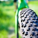 Mountain bike wheel detail — Stock Photo