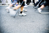 Nordic walking race, motion blur — Stock Photo