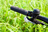 Mountain bike handlebar detail — Stock Photo