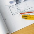 Engineering blueprints and plans — Stock Photo