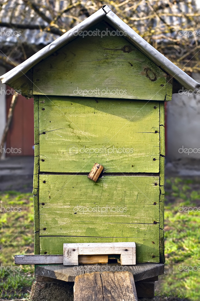 Bee-garden. Old beehive at farm   Stock Photo #2881247