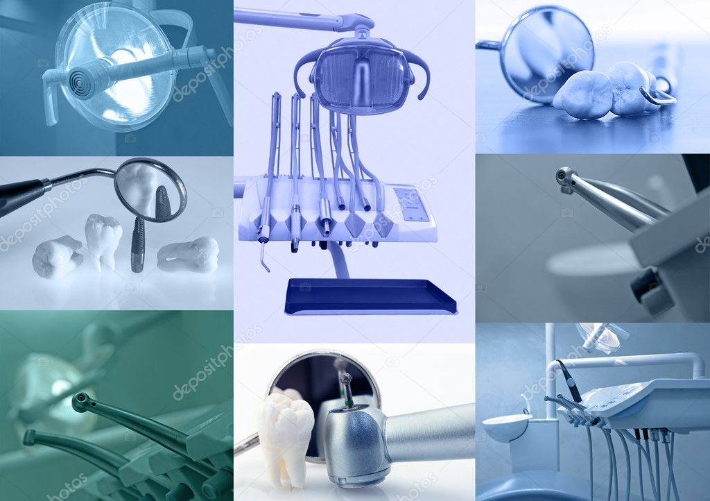 Dental background. Set of dental images blue tinted — Stock Photo #3769100