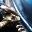 Macro gold zipper — Stock Photo