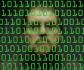 Man monitoring green binary code — Stock Photo