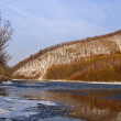 Stock Photo: Winter evening on river bank
