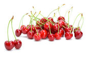 Some ripe red cherries with stalks — Stock Photo