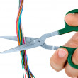 Scissors cut wires - Stock Photo