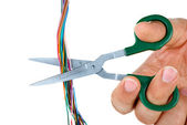 Scissors cut wires — Stock Photo