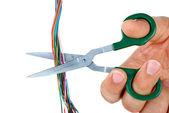 ножницы перерезать провода — Стоковое фото