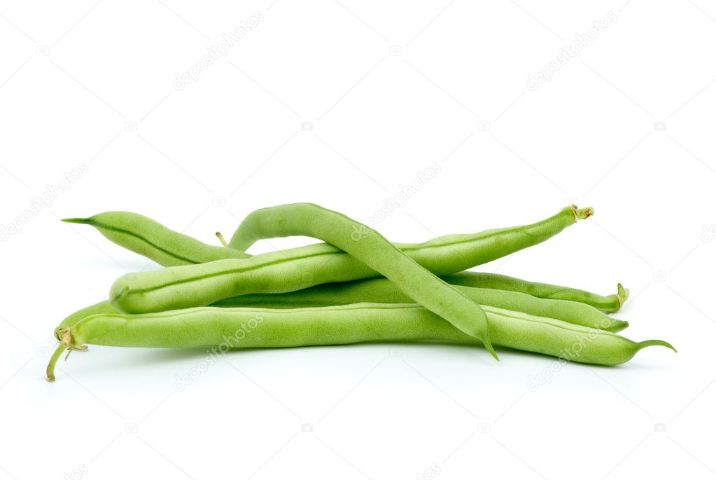 Few green french beans isolated on the white background — Stock Photo #3226479