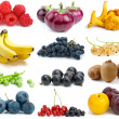 Set of fruits, berries, vegetables and mushrooms of different colours - Stock Photo