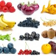 Set of fruits, berries, vegetables and mushrooms of different colours — Stock Photo
