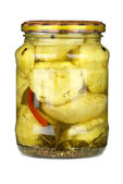 Cymblings conserved in glass jar — Stock Photo