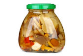 Mushroom assortment conserved in glass jar — Stock Photo