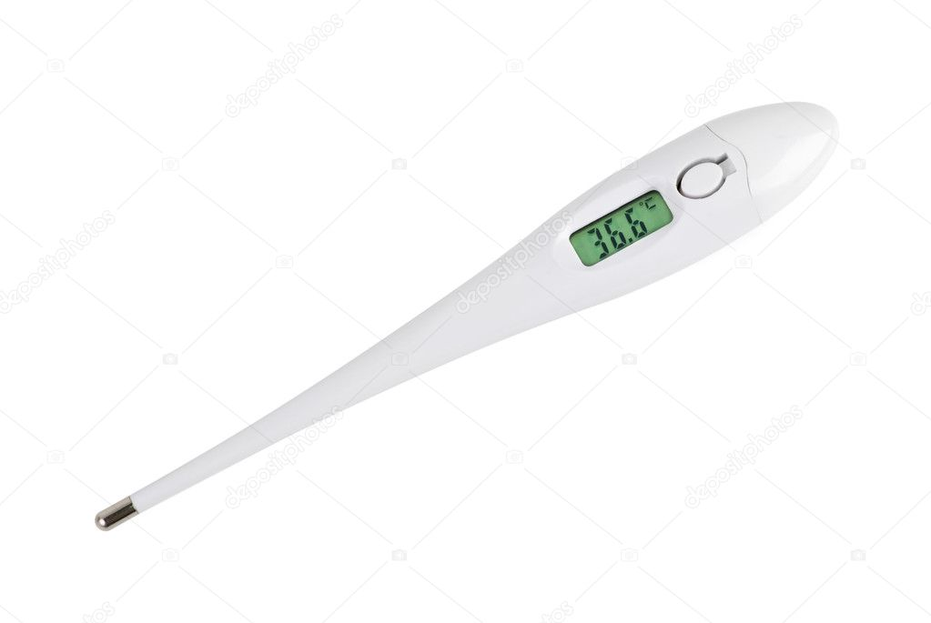 Electronic thermometer displaying normal themperature isolated on the white background — Stock Photo #3322849