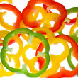 Abstrakt background from bell pepper slices - Stock Photo