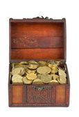 Treasure: wooden chest with golden coins — Zdjęcie stockowe