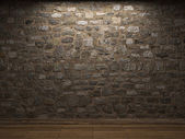Illuminated stone wall — Foto Stock